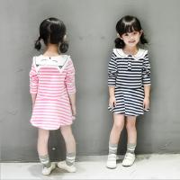韩版女童装2018春装新款小童条纹猫咪翻领长袖T恤娃娃衫连衣裙