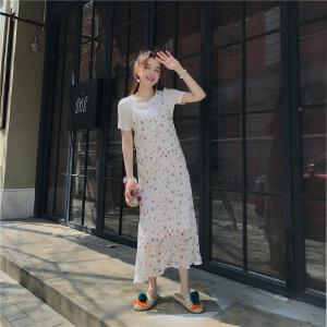 套装女夏2018新款气质温柔薄款打底+雪纺裙吊带长裙连衣裙