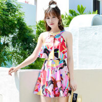 亲子泳衣女母女 新款保守遮肚儿童女童公主可爱韩国连体裙式