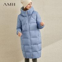 【到手价:523元】Amii极简轻暖时尚chic羽绒服女2019冬季新款抽绳连帽90绒茧型上衣
