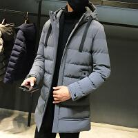 男士冬季棉衣男中长款韩版连帽羽绒棉服青年加厚保暖外套冬装