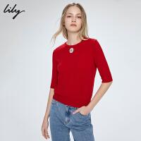 LILY新款女装纯羊毛小花绣标打底短袖薄针织衫120220B8753
