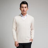 新款秋冬男士羊绒衫毛衣针织衫短款套头V领宽松大码打底衫