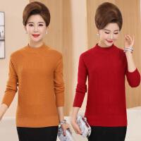 中老年妇女装秋冬装半高领针织衫50-60岁中年人妈妈装毛衣打底衫