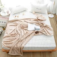 简约纯色毛毯加厚法兰绒毯子双人2米珊瑚绒沙发盖腿小毯子单人