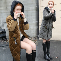 棉衣女中长款韩版修身2017冬季新款连帽加厚保暖时尚金丝绒女