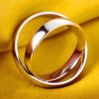 简约光面男士戒指情侣戒指女指环 韩版创意对戒铂金饰品生日礼物