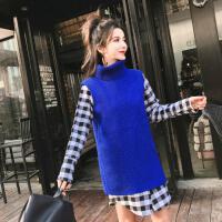 2018春季新款时尚气质格子长袖衬衣不规则背心百搭毛衣女两件套潮