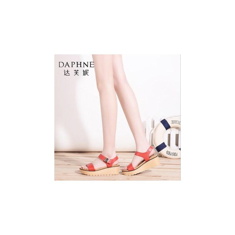 达芙妮凉鞋夏季新款女鞋厚底百搭夏天鞋子女士凉鞋中跟女凉鞋