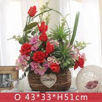 假花偌多创意家居卧室客厅电视柜装饰品摆件仿真玫瑰花盆栽套装带花瓶
