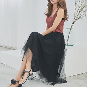 RANJU 然聚2018女装夏季新品新款韩版百搭两边穿网纱百褶半身裙中长裙
