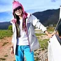 两件套防风衣工作服厚大冬季内胆秋冬季冲锋衣 加厚 两件套 女套装四季透气女士棉衣中长滑登山
