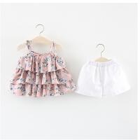 童装女童洋气套装夏季儿童碎花吊带短裤两件套宝宝夏装女