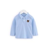 男女宝宝撞色门襟翻领长袖T恤春季婴儿纯棉上衣打底衫