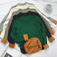 秋冬女装韩板宽松半高领加绒加厚针织衫套头毛衣打底衫学生上衣潮