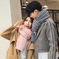 围巾女冬季韩版学生百搭长款粗毛线纯色针织围巾加厚情侣围巾男冬