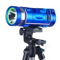 蓝光白光黄光300W钓鱼灯三种光双光源强光探照充电手提折叠夜钓灯