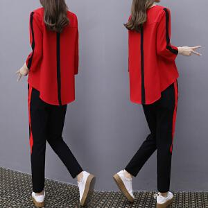 2018春装新款休闲运动服套装女韩版宽松显瘦时尚七分袖卫衣两件套