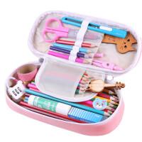 文具盒男女孩多功能笔袋初中学生可爱大容量创意小学生铅笔袋 珍珠粉 辫子公主 送密码锁-六件套