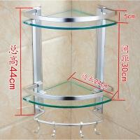 玻璃浴室置物架卫生间洗漱台三角架壁挂双层太空铝收纳架 打孔双层玻璃三角架