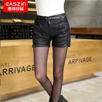 EASZin逸纯印品 2017春季新款韩版女士皮短裤PU皮裤中腰显瘦打底裤送腰带