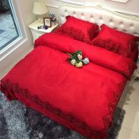 60支贡缎提花蕾丝花边婚庆床品喜被四件套欧式结婚床上用品大红色 红色 ZYJ-爱意浓