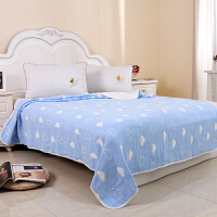棉三层纱布加大毛巾被双人单人可铺可盖 床单 浅棕色 6层云朵蓝