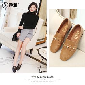 【毅雅】2018春季新款女单鞋方头复古休闲鞋低跟水钻舒适优雅女鞋 YD8WB1698