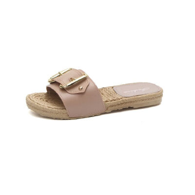ELEISE美国艾蕾莎新品156-027韩版超纤皮平跟女士凉拖鞋