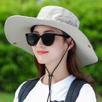 户外帽子女韩版潮百搭出游遮阳帽大沿遮脸日系女士渔夫帽