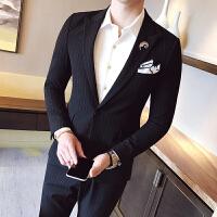 秋冬季休闲西装外套男青年英伦黑色小西装潮男韩版修身西服男上衣 黑色 M