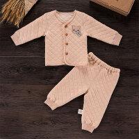 活力熊仔 童装秋冬款天然彩棉加厚保暖舒适宝宝裤套装 婴儿衣服