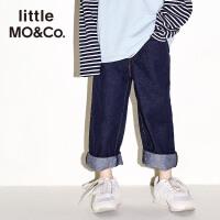littlemoco秋冬新款儿童牛仔裤微宽直筒裤男女童牛仔裤长裤裤子