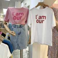 甜美休闲2021韩国东大门宽松夏装新款女韩版印花字母百搭短袖T恤