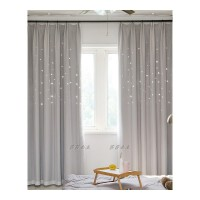 窗帘成品镂空星星韩式卧室遮光公主风双层飘窗窗帘・