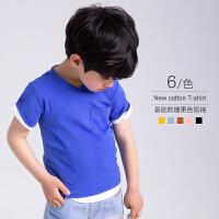 男宝宝夏装纯色百搭V领短袖T恤儿童韩版男童上衣半袖夏季体恤