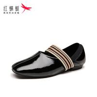 【红蜻蜓限时抢购,1件2折】红蜻蜓女鞋夏季新款柔软舒适芭蕾舞鞋松紧带方头复古单鞋