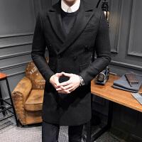 秋冬季男士中长款风衣韩版修身帅气毛呢外套青年英伦风大衣潮 黑色 M