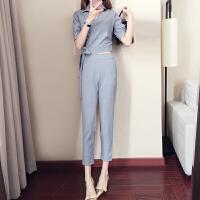 套装女夏2018新款时尚小香风韩版气质小清新显瘦矮个子夏装两件套 INKI1108灰色