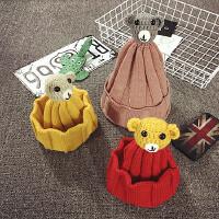 儿童毛线帽秋冬季护耳帽宝宝帽子2-4岁保暖男女针织韩版潮套头帽