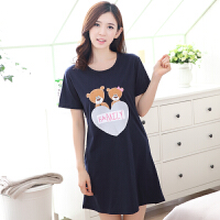 夏季韩版女士纯棉短袖睡裙加大码公主宽松可爱睡衣性感裙子家居服 蓝色 深蓝9274短裙