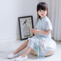 女童旗袍雪纺小孩童装中国风连衣裙儿童祺袍公主裙宝宝旗袍裙