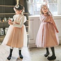 韩国童装女童冬装新款公主裙加绒加厚韩版长裙新年礼服儿童连衣裙