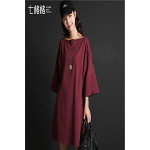 连衣裙短裙女春秋装新款韩版显瘦学生纯色时尚圆领七分袖宽松