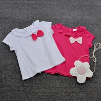 2016夏装婴儿短袖t恤女宝宝纯棉荷叶边领薄款0-1-4岁女童简约上衣