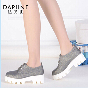 Daphne/达芙妮女单鞋 圆头PU厚底系带织物布鞋