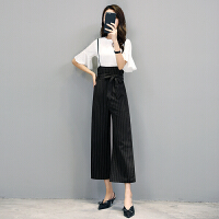 2018夏季新款小香风时尚名媛气质背带裤两件套高腰阔腿裤套装女潮 图片色