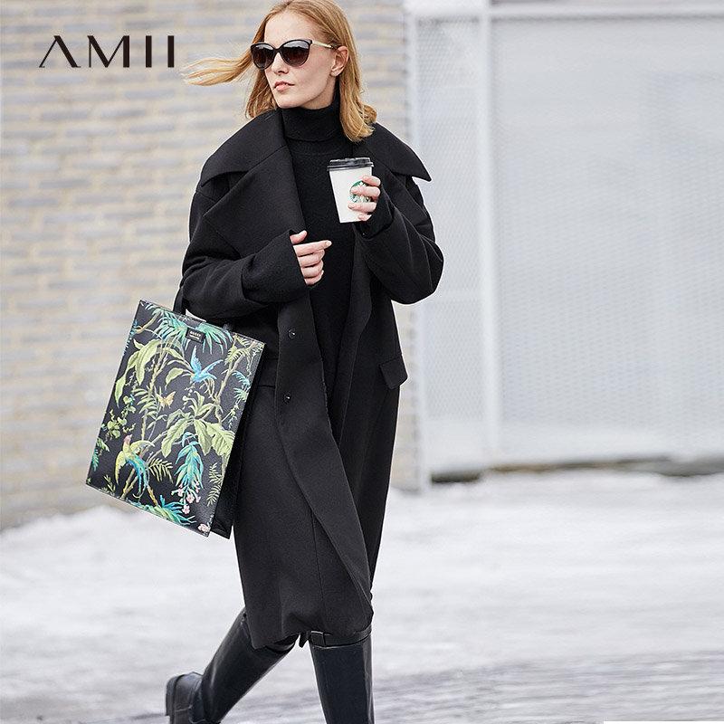 【到手价225元】Amii极简气质时尚潮大翻领毛呢外套女2018冬新宽松大码中长款大衣.