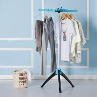 阳台晾衣架收缩落地衣架简易折叠单杆式三角晒衣架家用卧室挂衣架 天蓝色