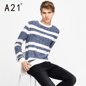 以纯A21秋装新款男士圆领长袖毛衣男 青年学院风条纹舒适衣服青春活力